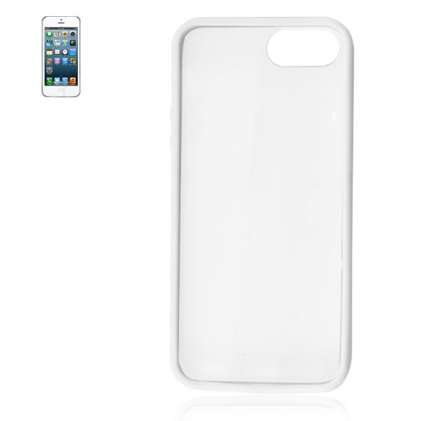 Coque iPhone 5 Rigide - Blanc et Transparent