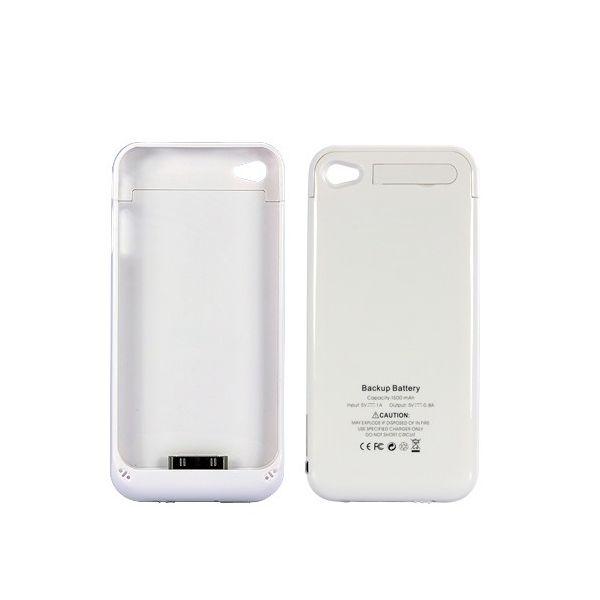 Coque, batterie et stand pour iPhone4 / 4S, 1500mAh, (Blanc)