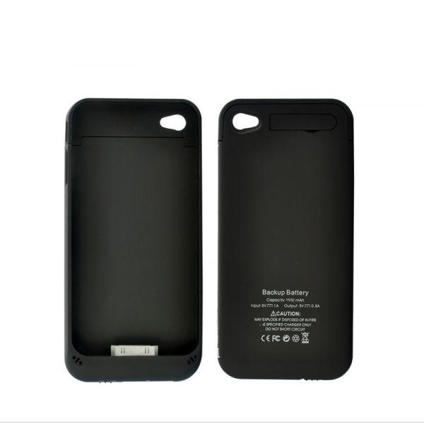 Coque, batterie et stand pour iPhone4 / 4S, 1500mAh, (Noir)