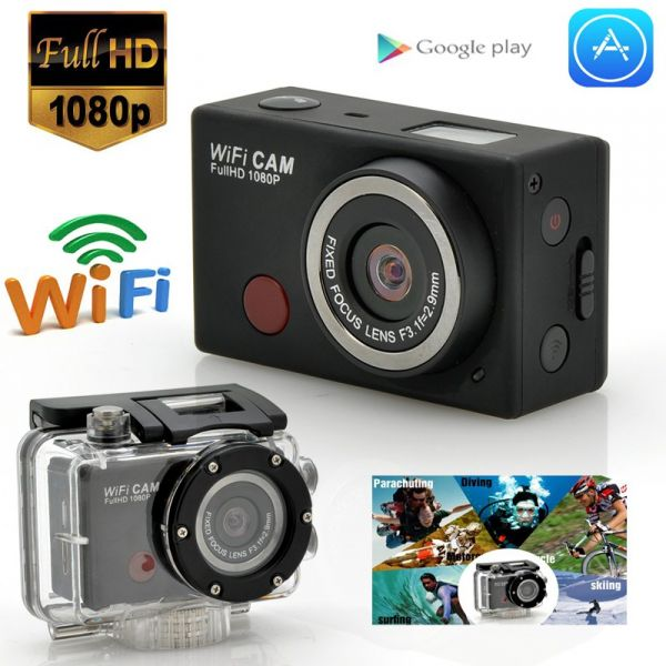 Caméra Wi-Fi sport étanche avec télécommande, Full HD 1080p, 5 MP
