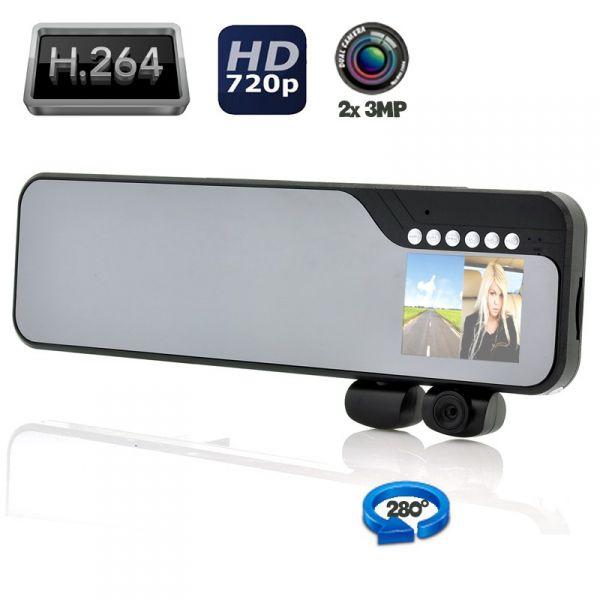 """Rétroviseur LCD 2.7"""" - Double Caméra embarquée - Grand Angle"""