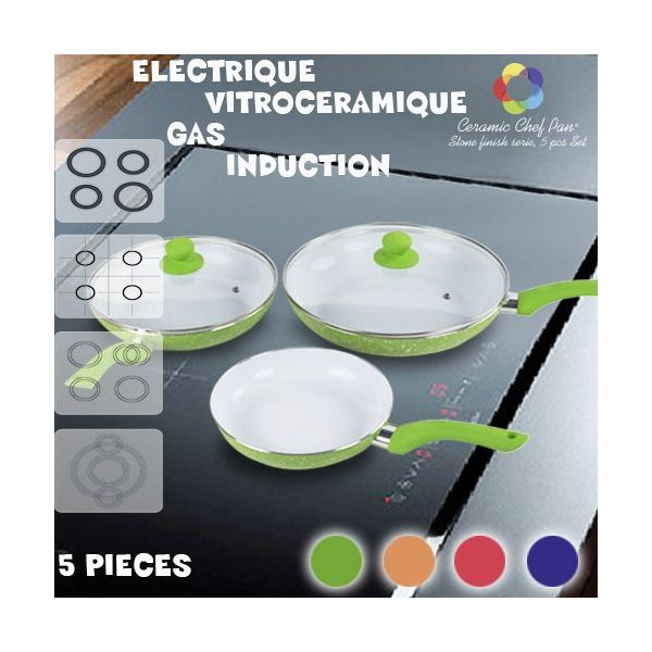 Lot Poêles Céramique Chef Pan Stone Edition (5 pièces)