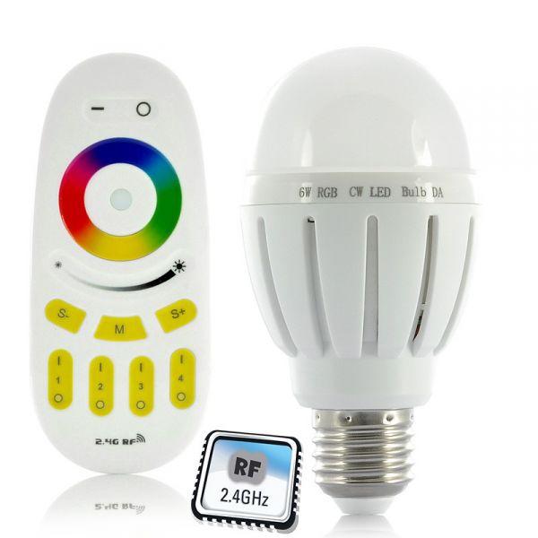 Pack Ampoule LED RGB 6W + Télécommande RF tactile