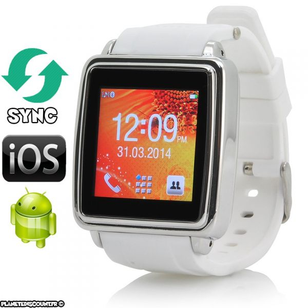 Montre Bluetooth Smart Watch - Tactile, Sync SMS, contact et appel (Blanc)