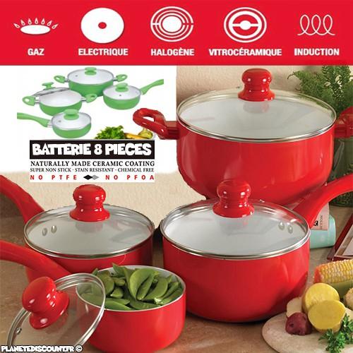 Batterie De Cuisine Ceramique 8 Pieces A Prix Discount