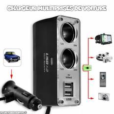 Chargeur de voiture Hub 2x USB 2x Cigare