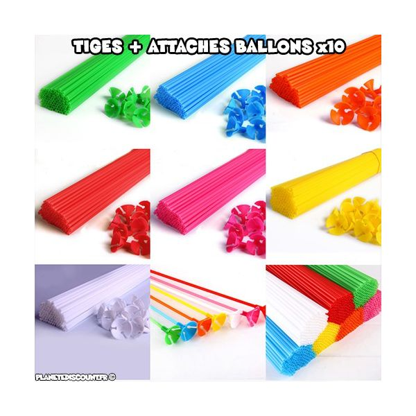Tiges et attaches ballons multicolores x10