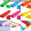 Tiges et attaches ballons multicolores x10