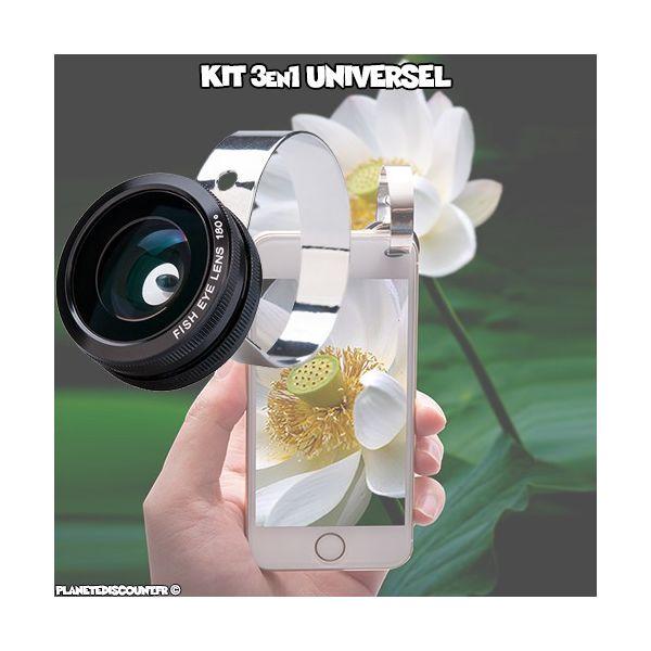 Kit Objectif 3 en 1 universel pour smartphone