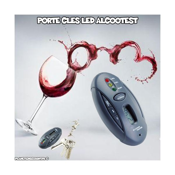 Porte clés LED Alcootest et chronomètre