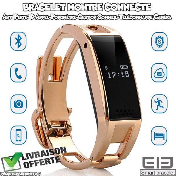 Bracelet montre connecté bluetooth - Sync SMS et contact, podomètre...