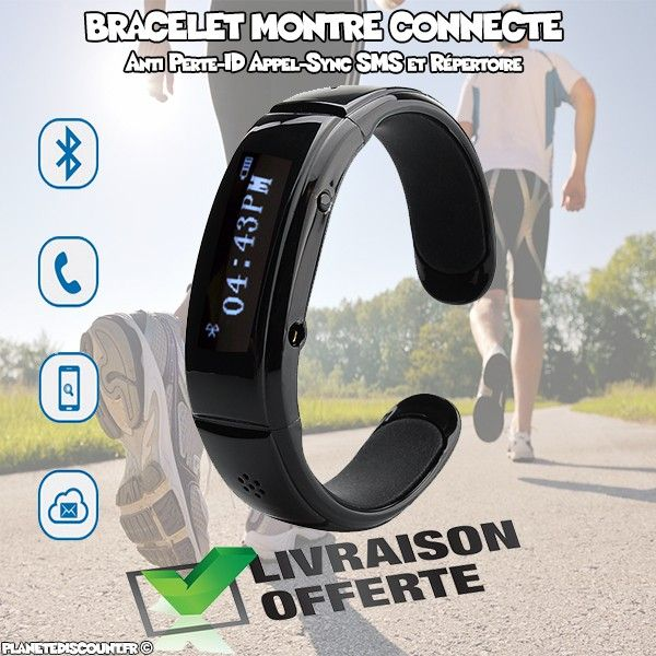 Bracelet montre Bluetooth - ID appel, Sync SMS, Anti Perte