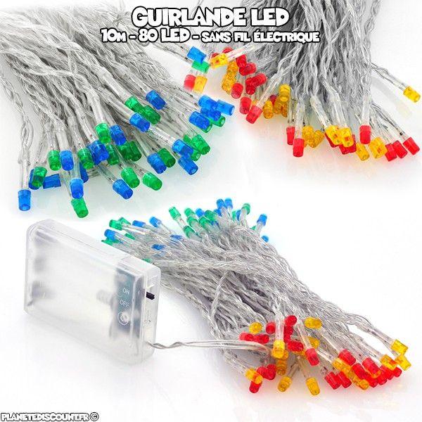 Guirlande à piles 10m, 80 LED, 4 couleurs