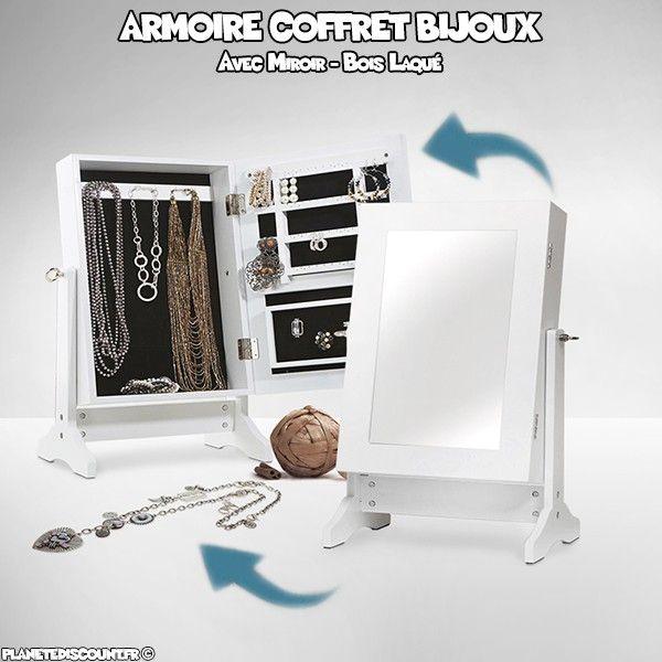 Achat vente armoire coffret bijoux avec miroir pas cher for Miroir bijoux