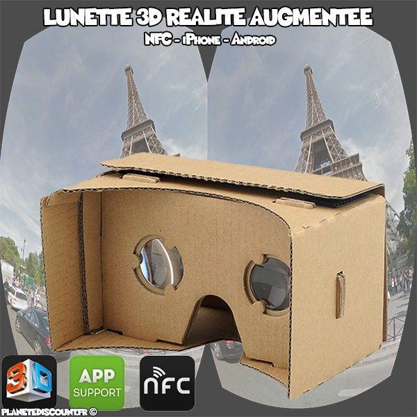 Lunette 3D Google Cardboard - Réalité augmentée, NFC, iPhone, Android