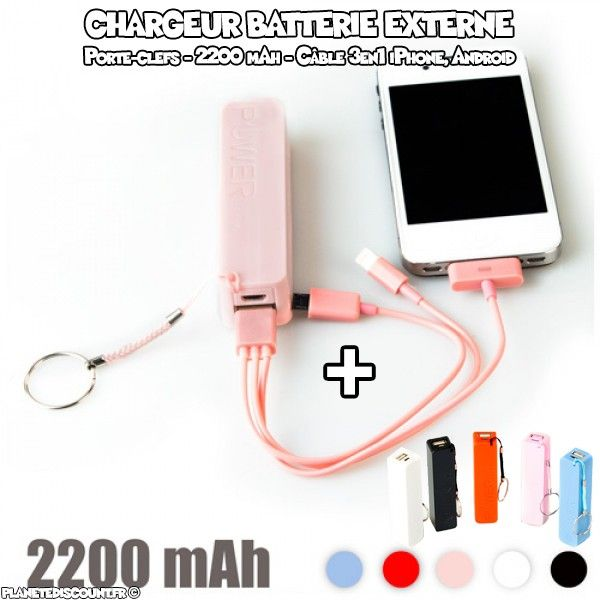 Chargeur Batterie porte-clefs 2200 mAh, iPhone, Android