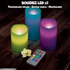 Pack de 3 bougies led parfumées multicolore avec télécomande