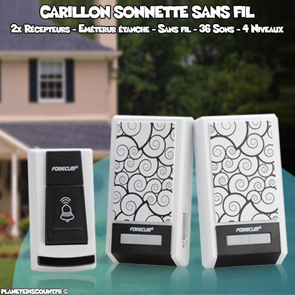 achat carillon sonnette sans fil 2 r cepteurs imperm able pas cher. Black Bedroom Furniture Sets. Home Design Ideas