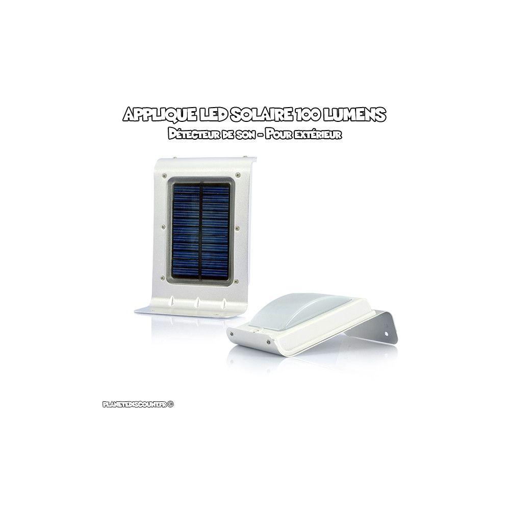 Applique extérieur LED Solaire avec capteur de son. Éclairez votre jardin, sécurisez votre extérieur avec cette lampe solaire de sécurité à détection de sonet alimenté par panneau solaire.