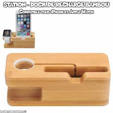 Stand dock Apple Watch et iPhone en bambou