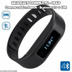 Bracelet connecté - Sport et sommeil, écran OLED - Noir