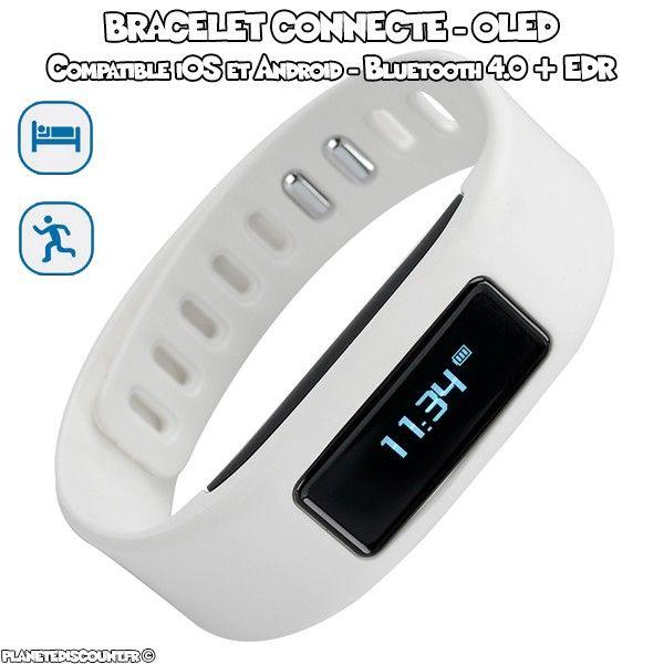 Bracelet connecté - podomètre, calorie, écran OLED - Blanc