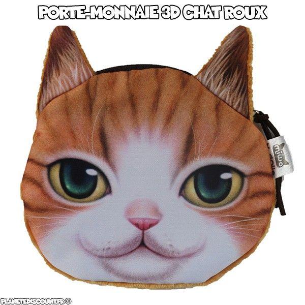 Porte-monnaie chat roux 3D