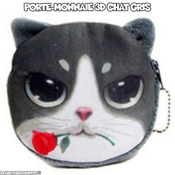 Porte monnaie 3D - chat gris