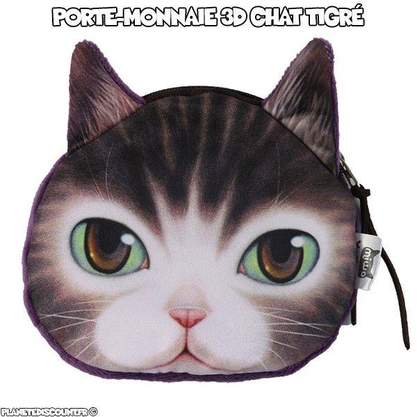 Porte monnaie 3D - chat tigré