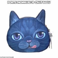 Porte-monnaie 3D - chat bleu