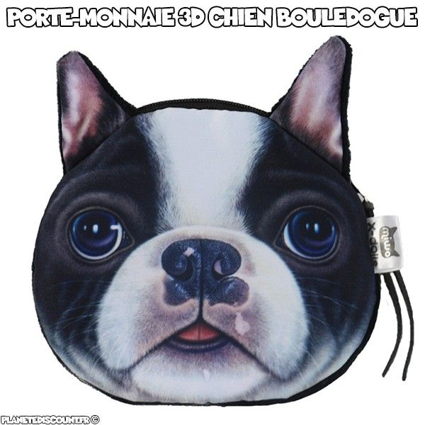 Porte-monnaie 3D - chien bouledogue