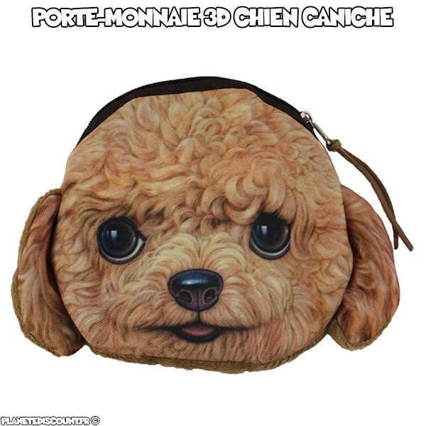 Porte-monnaie 3D - chien caniche