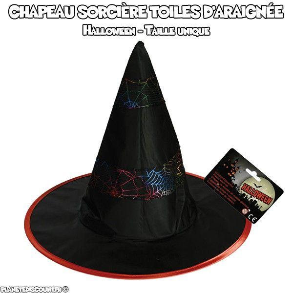 Chapeau de sorcière toiles d'araignée Halloween