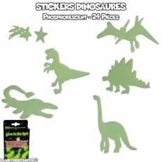 Lot 24 stickers phosphorescent dinosaures