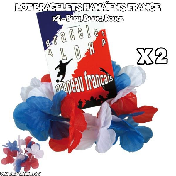 Lot de 2 bracelets hawaïens supporter France