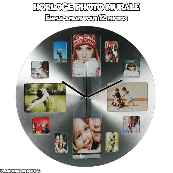 Horloge en aluminium avec emplacement photos