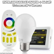 Pack Ampoule LED RGBW 6W + Contrôleur Wi-Fi - Télécommande RF