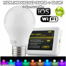 Pack Ampoule LED RGB 6W + Contrôleur Wi-Fi - Android - iOS