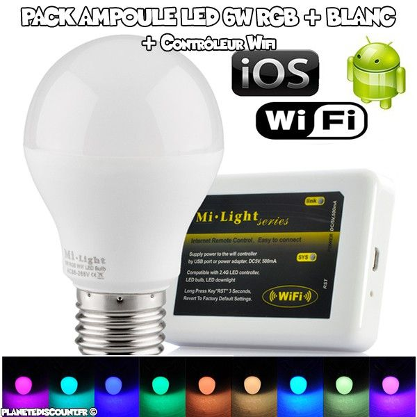 Pack Ampoule LED RGB 6W + Controlleur Wi-Fi - Android - iOS