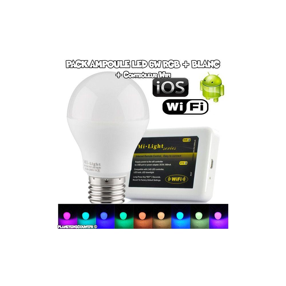 ampoule led achat pack ampoule led rgb 6w contr leur wi fi pas cher. Black Bedroom Furniture Sets. Home Design Ideas