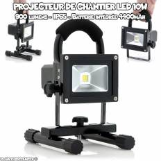 Projecteur de chantier à LED rechargeable 10W - 900 Lumens - IP65