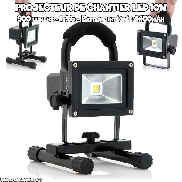 projecteur chantier led achat projecteur led 10w portatif pas cher. Black Bedroom Furniture Sets. Home Design Ideas