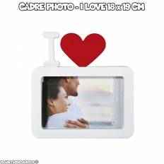 Cadre photo blanc - I Love 18 x 19 cm
