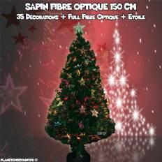 Sapin de Noël fibre optique avec décorations et étoile - 150 cm