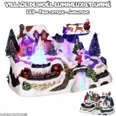 Village de Noël lumineux et animé - Train des neiges