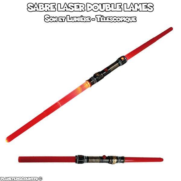 Sabre laser double lames télescopique avec son