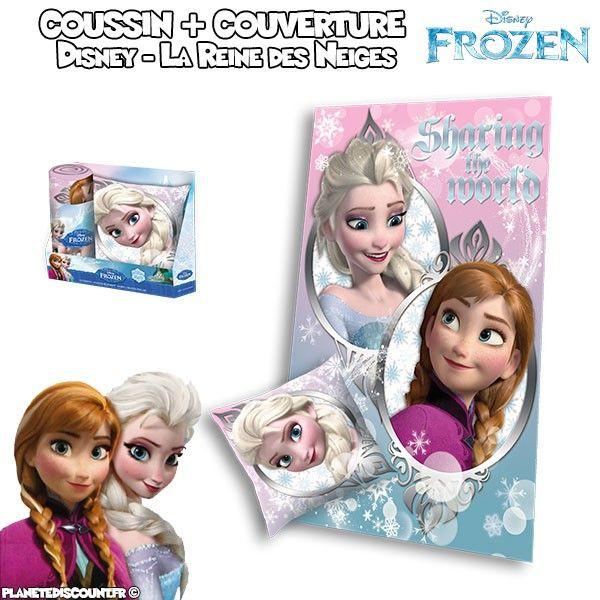 Frozen - Ensemble oreiller + couverture polaire La reine des Neiges