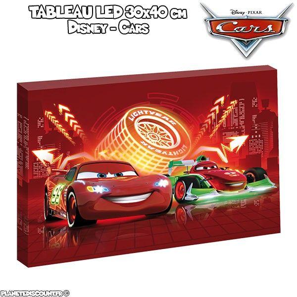 Tableau avec LED - Disney Cars - 30 x 40 cm