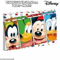 Tableau avec LED - Disney Mickey - Dingo - Pluto - 30 x 40 cm