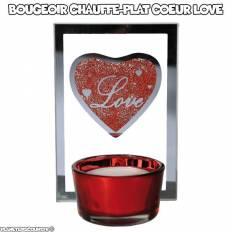 Bougeoir chauffe-plat coeur Love en verre